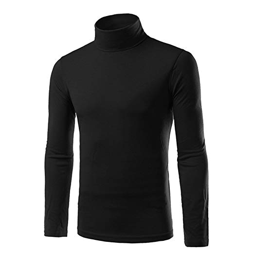Chen Men Turtleneck Long Sleeves Slim Fit Pullover T-Shirts at