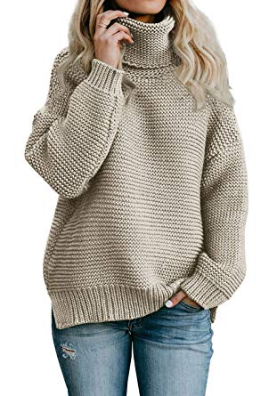 Imily Bela Womens Oversized Turtleneck Sweater Long Sleeve Chunky