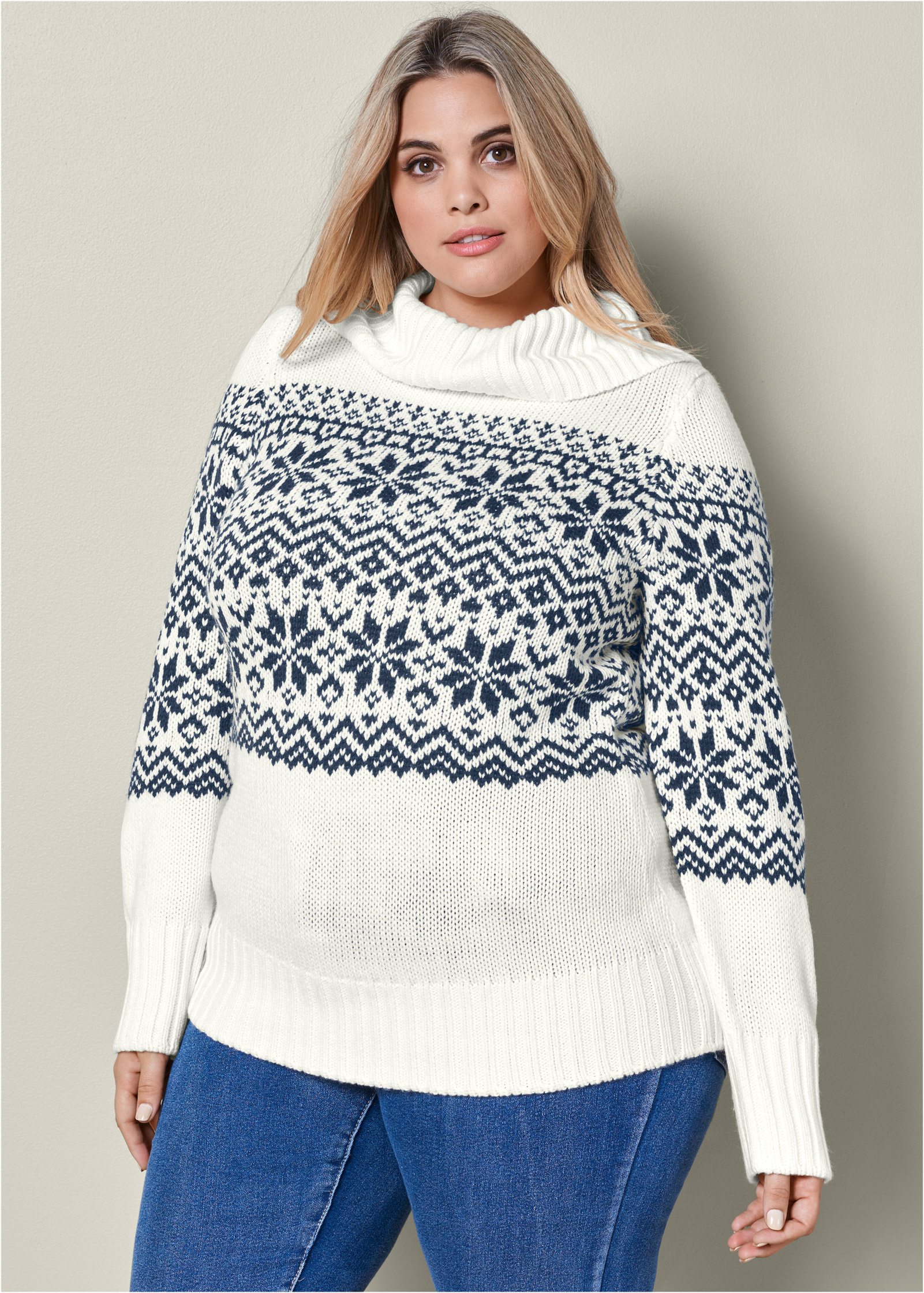 Plus Size TURTLENECK SWEATER in Cream Multi | VENUS