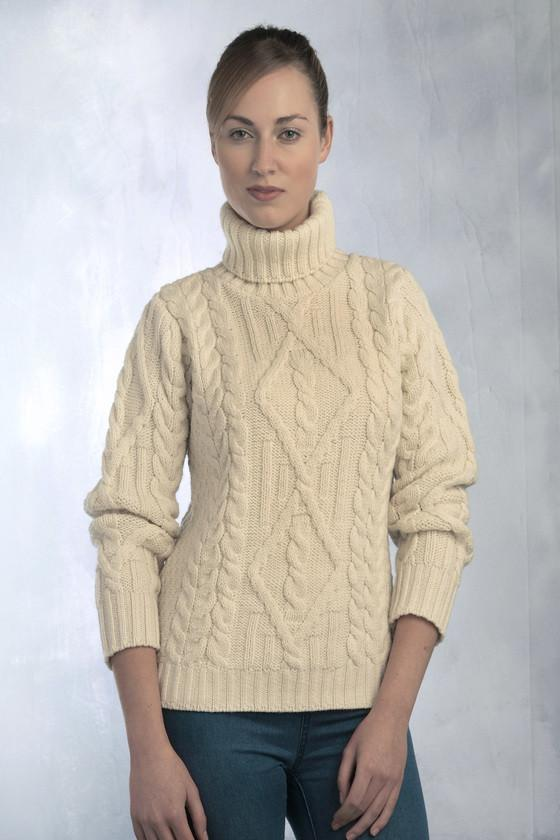 Women's Aran Turtleneck Sweater - Natural u2013 Aran Sweaters Direct