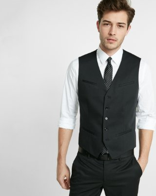 Black Performance Stretch Wool-blend Suit Vest | Express