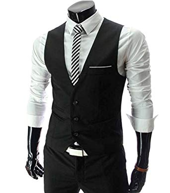 MARIR Men Vests Jacket Classic Style Slim Fit Business Waistcoat at