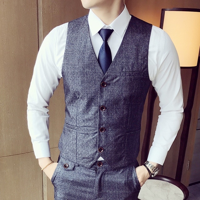 Mens Suit Vest Men Colete Male British Wedding Slim Fit Men Dress