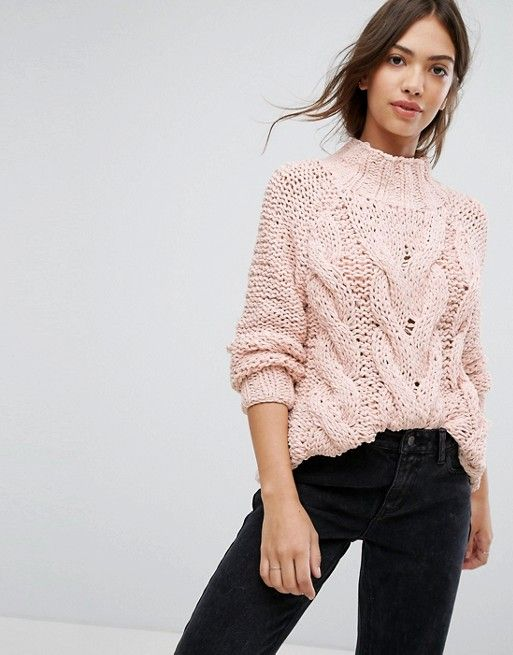 Vila Light Pink Cable Knit Sweater | Tops | Pinterest | Cable knit
