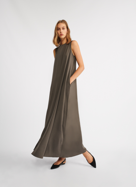 Viscose maxi dress, chocolate | Dresses | Clothing | Fabiana Filippi
