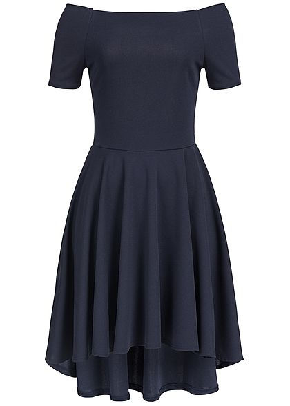 Styleboom Fashion Damen Kleid Off Shoulder Vokuhila navy blau