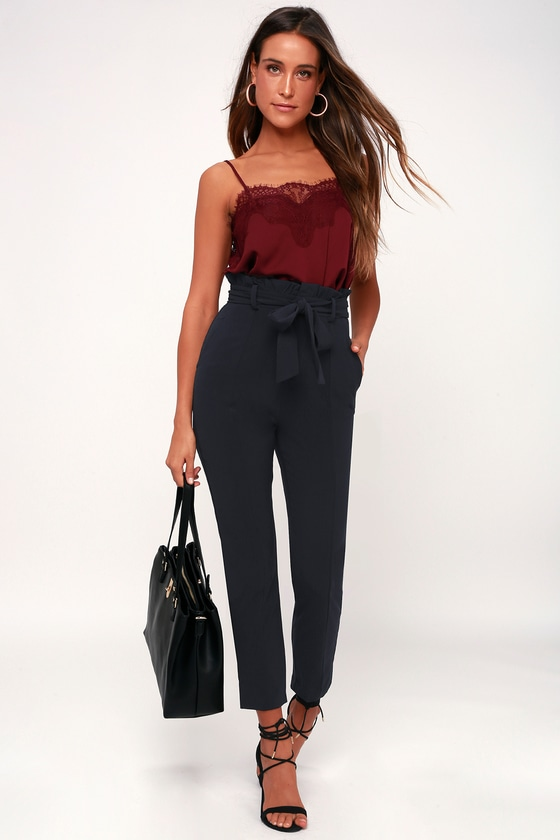 Chic Navy Blue Pants - Paper Bag Waist Pants - Navy Blue Trousers