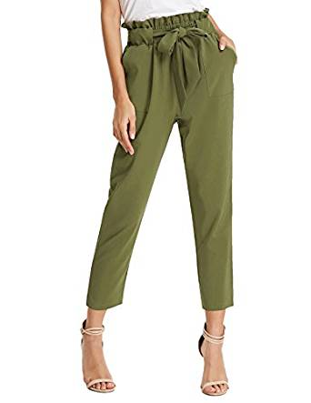 GRACE KARIN Women's Pants Trouser Slim Casual Cropped Paper Bag