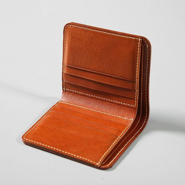 Handmade Leather Mens Slim Cool Short Leather Wallet Men Small Wallets