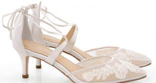 Amelia Floral Lace Kitten Heel Ballet Wedding Shoes | Bella Belle Shoe