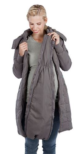 Maternity Winter Coat Chevron Puffer with Hood | Madison by Modern