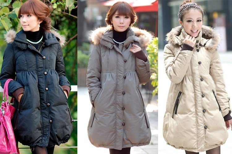 011 NEW WOMEN'S/LADY'S FUR HOODED WINTER WARM LONG COAT JACKET-in