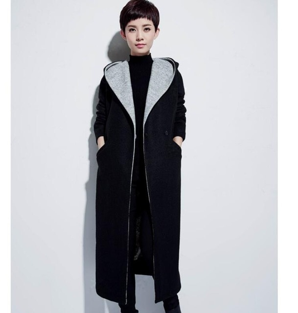 large Collar Hood Wool Coat Winter Coat Women OverSize Wool Jacket