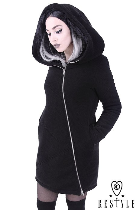 Black winter jacket with pockets, Huge hood