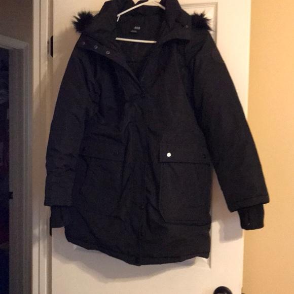 Ana Jackets & Coats | Womens Black Large Winter Coat Hood | Poshmark
