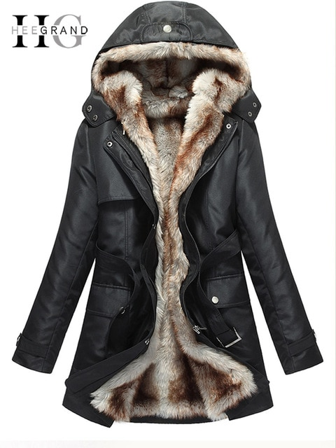 HEE GRAND Women Basic Jackets Winter Coats Faux Fur Woman Warm Parka