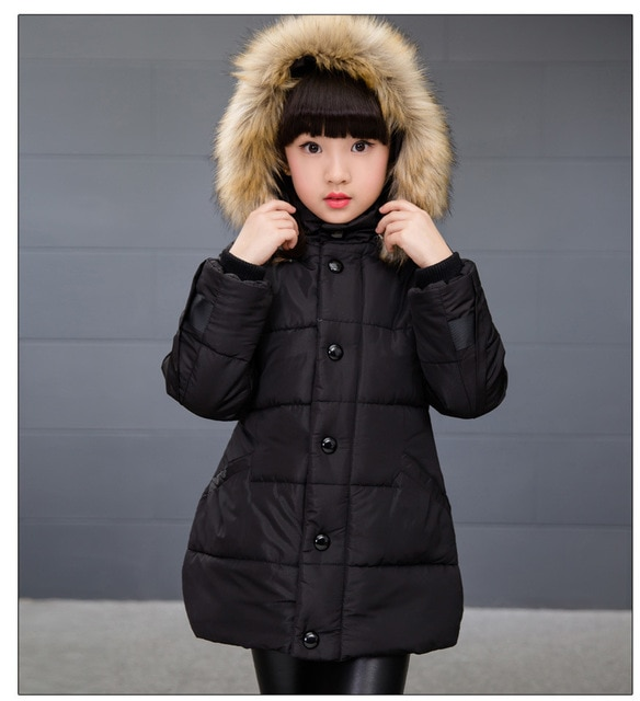 Teenage Girls Winter Coats And Jackets Faux Fur Hooded Long Down