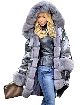 Roiii Plus Size Womens Military Hooded Warm Winter Coats Faux Fur