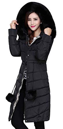 ACE SHOCK Winter Coat Women Plus Size, Faux Fur Hood Cotton Padded