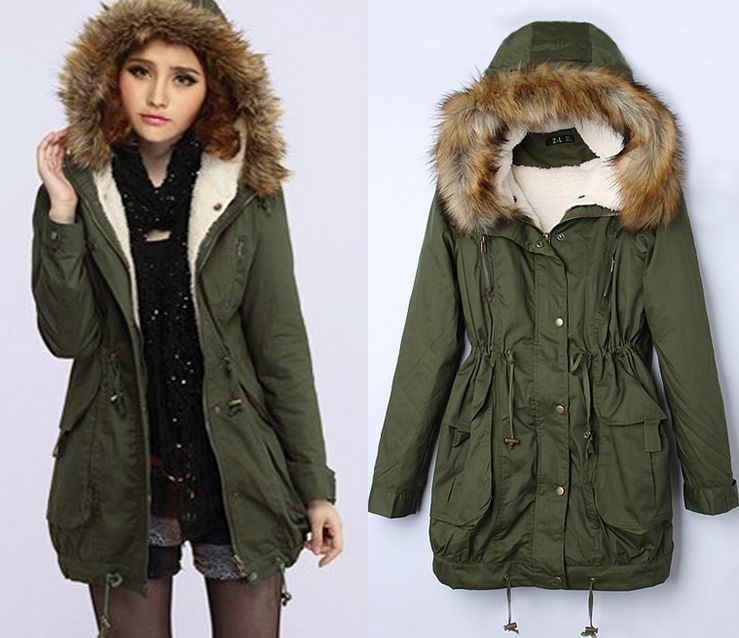 Women's Thick Military Jacket Faux Fur Hood Long Winter Coat Lining