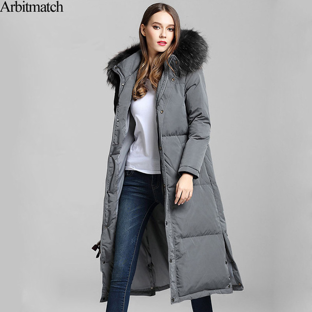 Arbitmatch New Long Down Coats Winter Down Jacket Women Natural