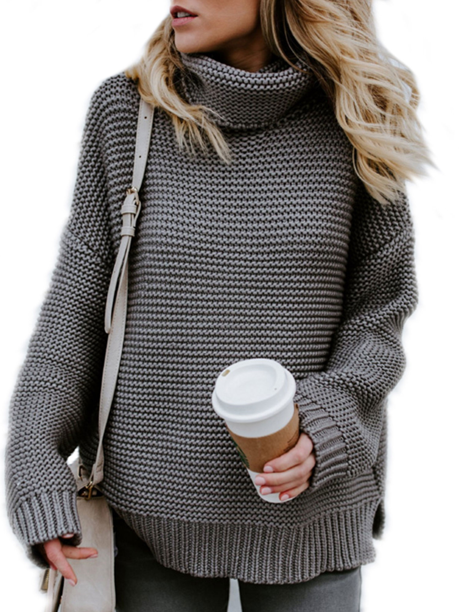 HIMONE - Knitted Sweaters for Women High Neck Chunky Knit Pullover