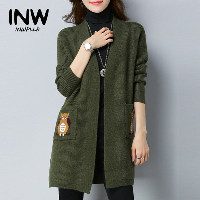 2019 Winter Coats Female Cardigan Jackets Owl Embroidery Knitted