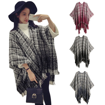 Women Winter Knitted Poncho Cape Top Tassel Plaid Sweater Scarf Coat