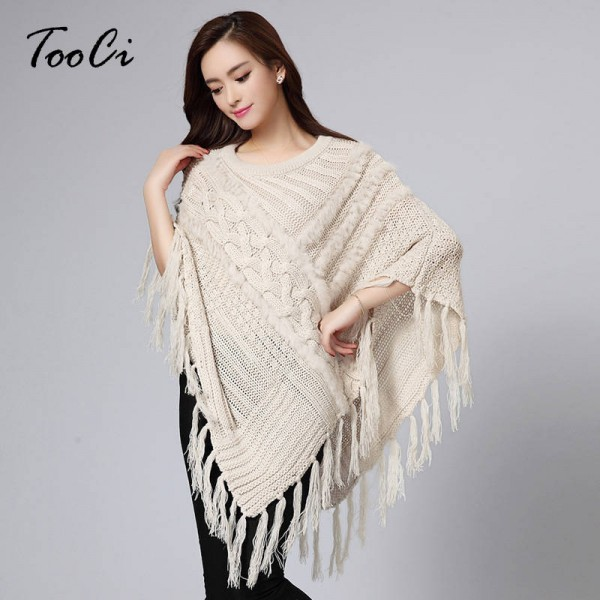 New Fashion Fall Winter O Neck Soft Rabbit Fur Poncho Shawl Wool And