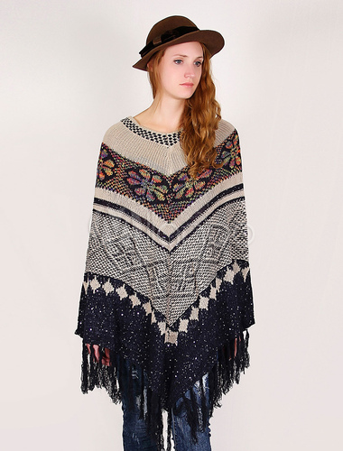 Women Oversized Sweater Knitting Poncho Cape Bohemian Fringes Plus