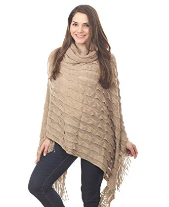 Women Winter Warm Ruffle Trim Knit Poncho-like Shawl Wrap, 44