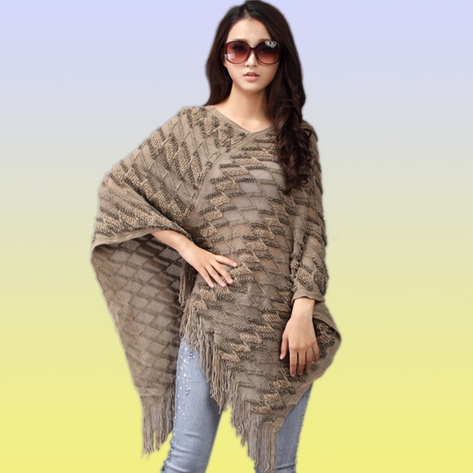 Winter knit poncho for women