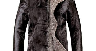 Leather Jacket Men Winter Thick Inner Wool PU Leather Coat Men
