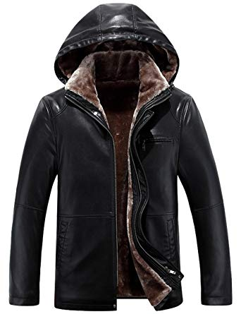 Tanming Men's Winter Warm PU Leather Coat Real Fur Hooded Faux
