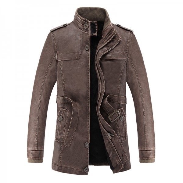 Buy 2018 hot and cold winter jacket PU leather motorcycle male