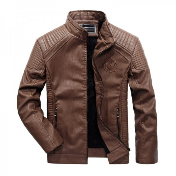 Buy Plus Size Men Motorcycle Biker Leather Jacket New Windproof Wool