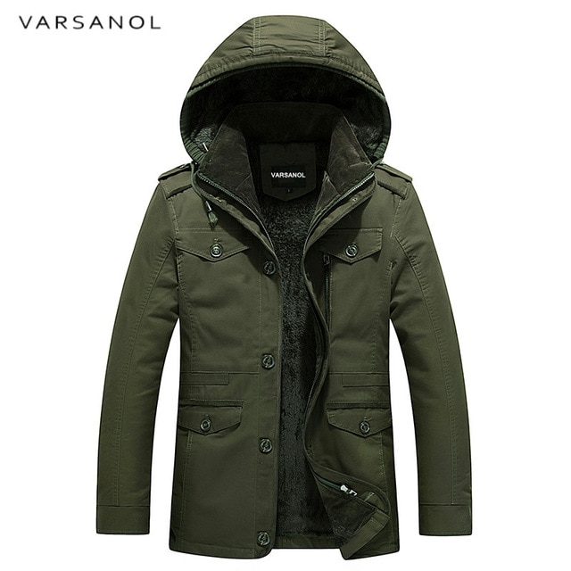 Varsanol Brand Mens Winter Jackets Zipper Thick Jacket Men Coat With