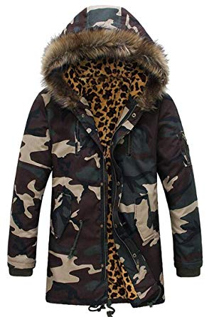 Jotebriyo Men's Camo Print Parkas Faux Fur Hooded Warm Winter