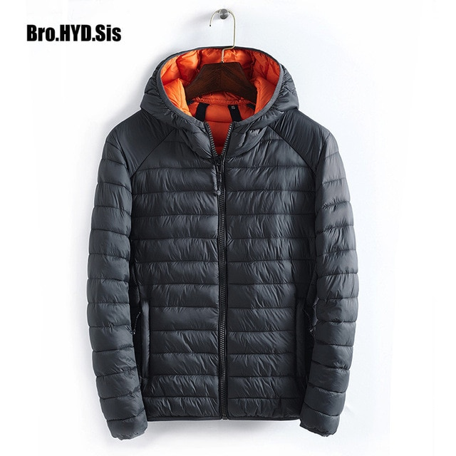 Winter Quilted Jacket Hooded Parka Coat Men Cotton Filling Zipper