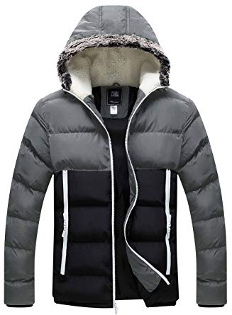 Amazon.com: ZSHOW Men's Winter Thickened Puffer Jacket Hooded Cotton