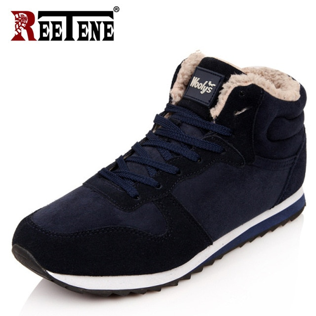 REETENE Cheapest Winter Boots Men Fashion Fur Flock Winter Shoes Men