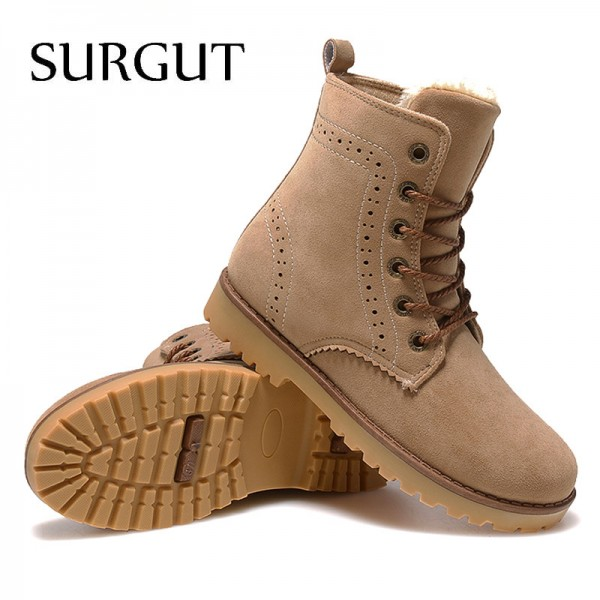 Buy Fashion Winter Shoes For Men Suede Pu Leather Snow Men Boots