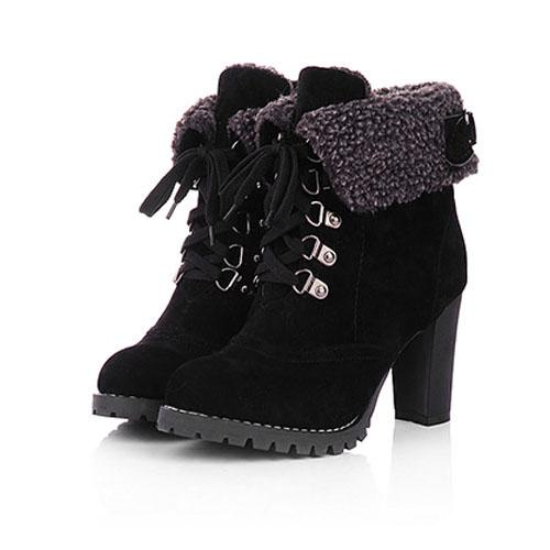 Women High Heel Boots Warm Cotton Women Shoes Ladies Ankle Snow