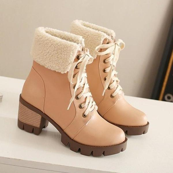 Women's Shoes - Winter Cotton Lined Lace-up Leather Snow Boots u2013 Kaaum