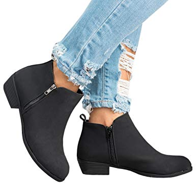 Amazon.com: Womens Flat Ankle Booties Round Toe Soft Suede Zipper