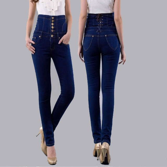 Fashion Vintage Women's Empire Waist Jeans Woman Skinny Super High