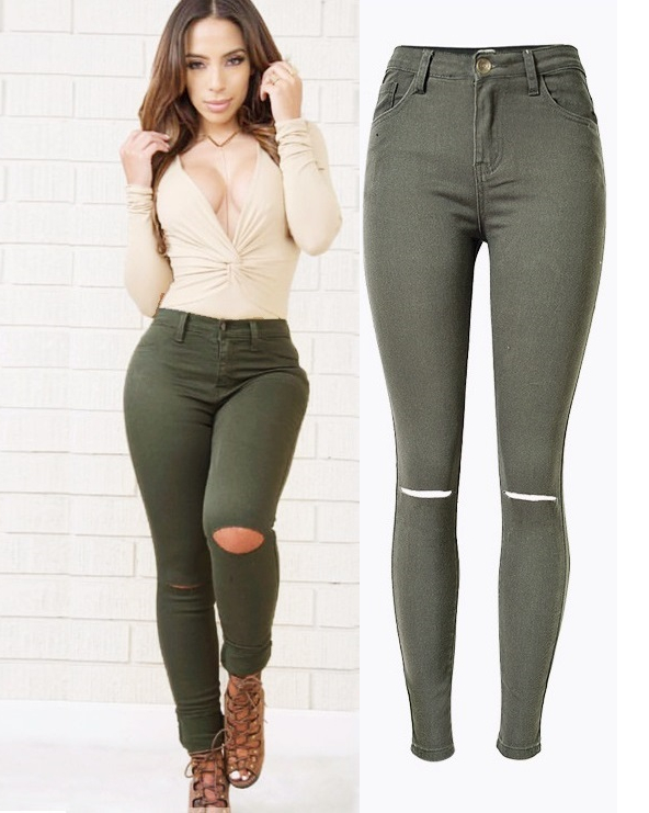 High-Waisted Skinny Ripped Jeans