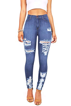 Vibrant Women's Juniors High Waist Jeans Stretchy Ripped Jeans at