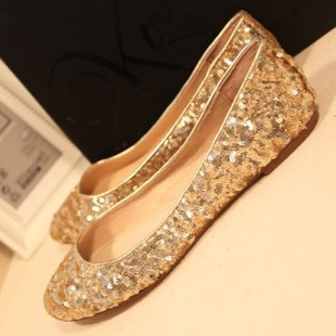 Women's shoes flat heel single shoes female bride wedding shoes gold