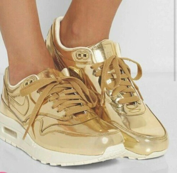 shoes, nike, nike shoes, nike womens shoes, nike gold, gold, hipster